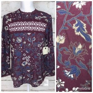 NWT HINGE Purple & Navy Floral Top Size XS